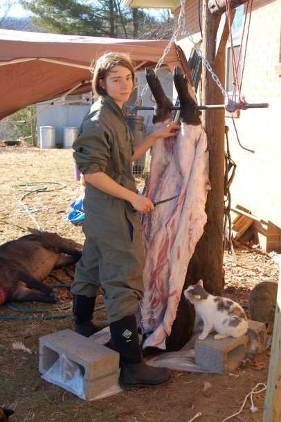 Emi in the process of skinning.