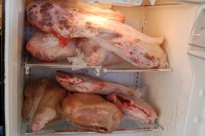 Fridge full of hams and shoulders.